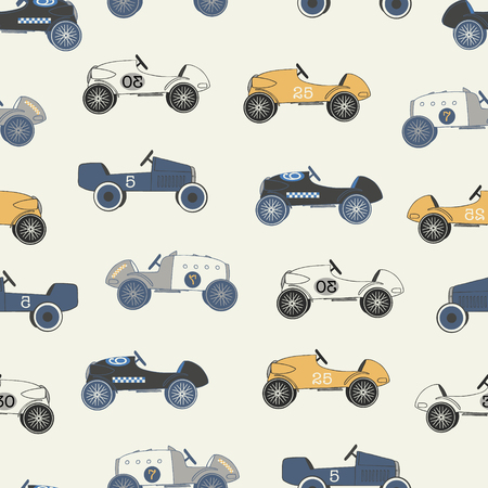 Vector light vintage race cars seamless repeat pattern. Perfect for fabric, wallpaper, wrapping paper and stationery projects. 向量圖像