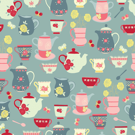 Vector blue tea party seamless pattern design.