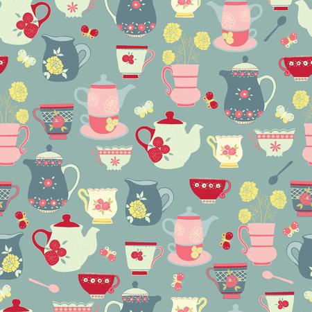 Vector blue tea party seamless pattern design. Banque d'images - 100127649