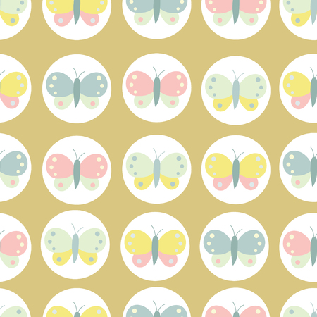 Vector butterflies seamless pattern design. 向量圖像