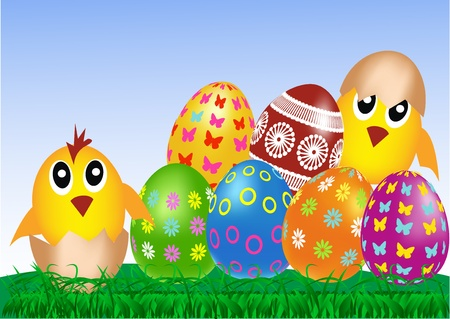 Easter eggs and chickens on green grass and blue sky  Vector