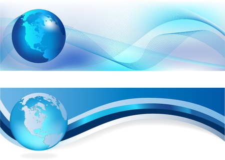blue banner: Heades width abstract blue background for company style design