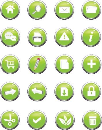 有用なウェブサイトのための緑色のアイコンのコレクション