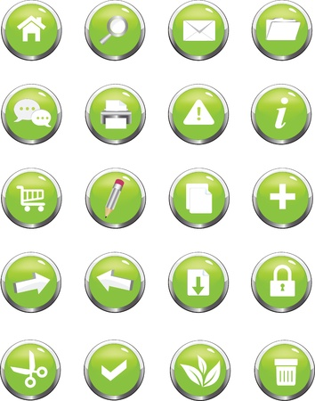 A collection of green  icons useful for website Stock Vector - 13076093