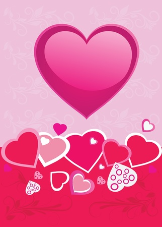 Background with Hearts and flower, element for design, vector illustration Illustration