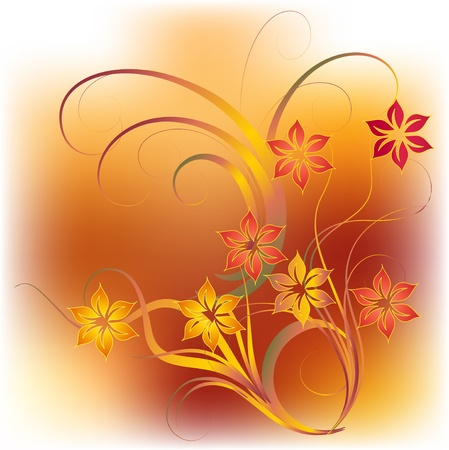 Abstract grunge background with flowers and decorative leafs Illustration