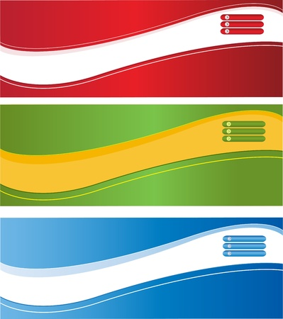 A set of web banners of different colors Illustration