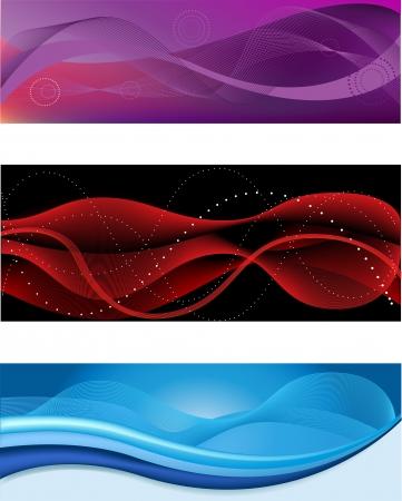 異なる色の web 抽象的なヘッダーのセット  イラスト・ベクター素材