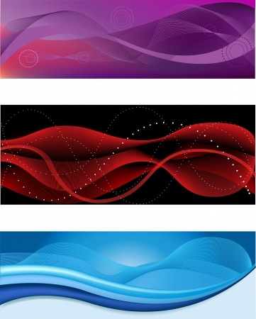 A set of web abstract headers of different colors Vector