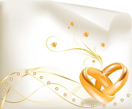 boda de oro 3D anillos de boda de oro Vectores