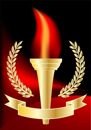 ベクトル - 赤と黒の背景にオリンピックの聖火  イラスト・ベクター素材