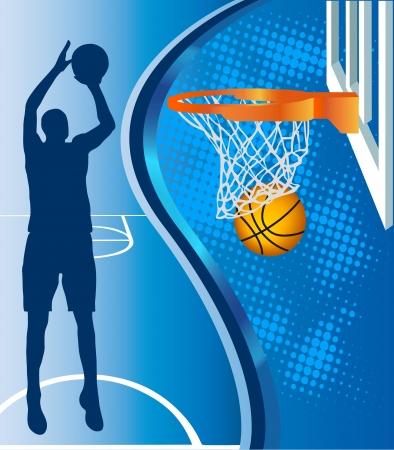バスケット ボールのフープと青色の背景にバスケット ボールのシルエット