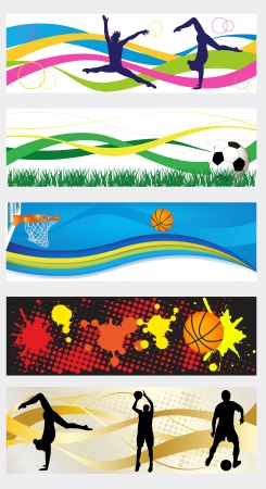 Collection of abstract sport heades or banner set Vector