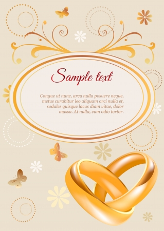 Wedding invitation width 3D golden rings and flowers Vector