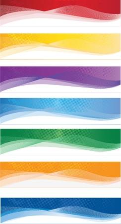 header: Un insieme di banner web di diversi colori Vettoriali