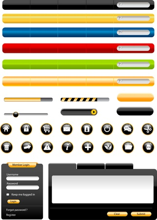 search bar: Set of modern Web Design Elements  Illustration