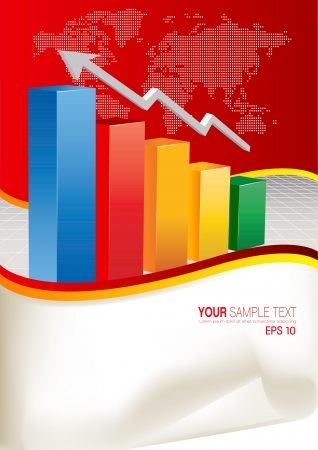3d financial graph stat business background Vector