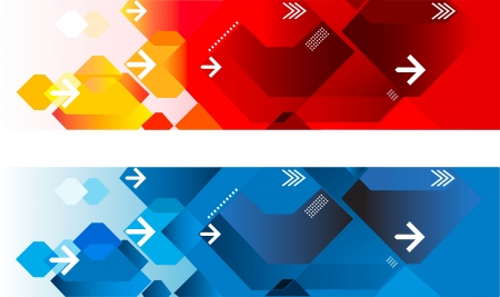 Two abstract web headers red and blue Stock Vector - 16078435