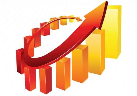 Statistiek grafieken, omgeven door 3d pijl