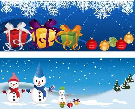ウェブサイトのヘッダーやバナーの雪の男と装飾セット  イラスト・ベクター素材