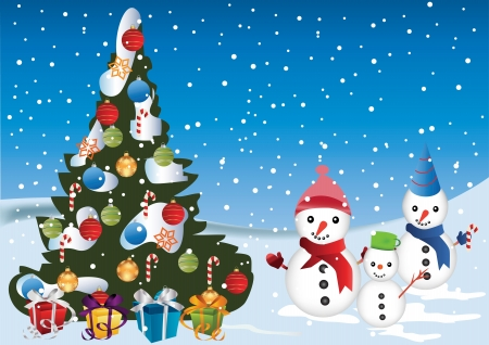 snow field: Christmas Card with  snow man Christmas tree and decorations Illustration