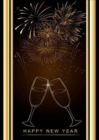 幸せな新年の背景に花火、シャンパン グラス