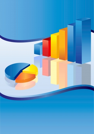 3d financial graph stat business background Stock Vector - 16596358