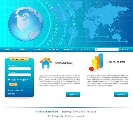ブルー ビジネスのウェブサイトのテンプレート  イラスト・ベクター素材
