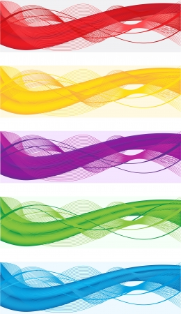 title: A set of abstract banners for web header of different colors Illustration