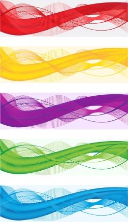 web header: Un conjunto de banderas abstractas para la cabecera web de diferentes colores Vectores