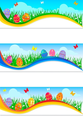 Easter banners with colorful Easter eggs in the young green grass   Stock Vector - 18385949