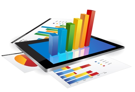 graph: Tablet-Bildschirm mit 3D-Grafik und ein Papier mit statistischen Diagrammen