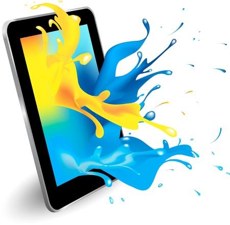 Éclaboussure de couleur magique depuis la conception de l'ordinateur tablette Cette image contient un filet de dégradé et le mode de fusion Vecteurs