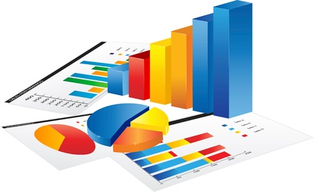 Grafiek en papier met statistiek grafieken