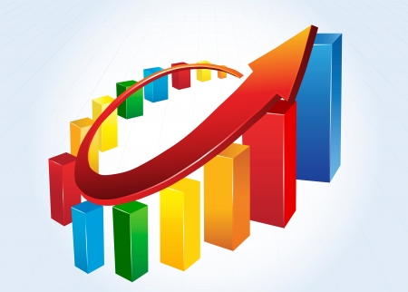 grow money: Statistic charts, surrounded by 3d  arrow