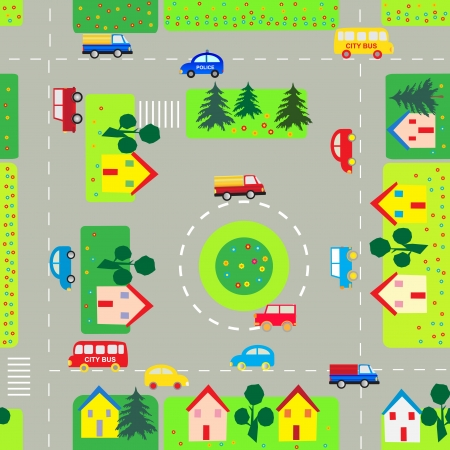 Seamless background with cars and streets Vector