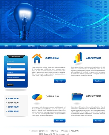 Blue business website templates  Vector