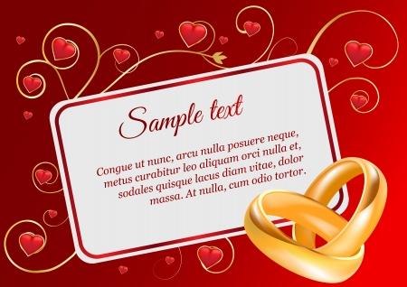 Wedding invitation width 3D golden rings and hearts Illustration
