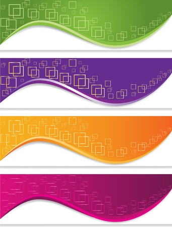 hi tech background: Banner set with geometric forms