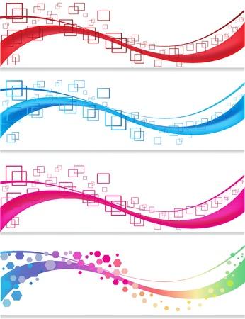 幾何学的形態と設定バナー  イラスト・ベクター素材