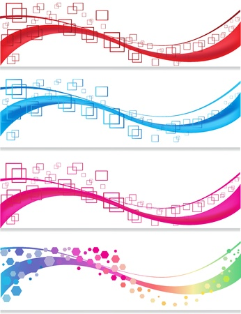 Banner set with geometric forms Vector