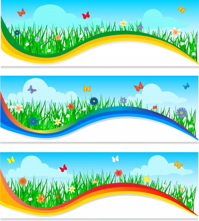 Banners with colorful flowers in the young green grass   Vector