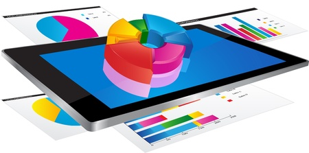 Tablet screen with 3d pie chart and a paper with statistic charts