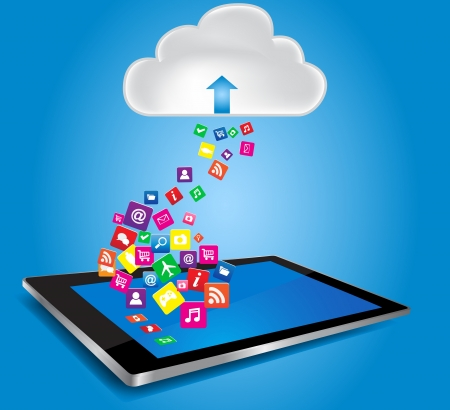 multi touch: Cloud computing and mobility concept  Cloud with Tablet PC and application icons
