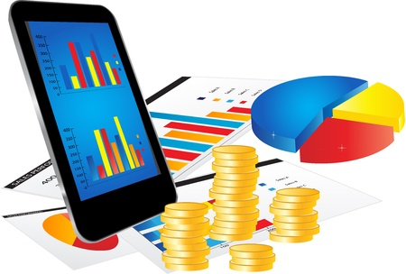 smartphone business: Financial Concept with Smartphone, Business Report and Graphs on white background