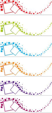 カラフルなベクトルの 3 つのヘッダー デザインの設定  イラスト・ベクター素材