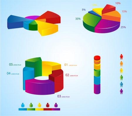 Graphs and charts for creating info-graphics  Vector