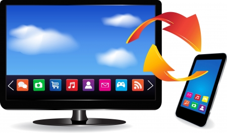 Smart TV and SmartPhone with a blue background and colorful apps on a screen  Isolated on a white  3d image