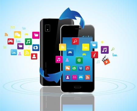 Black Smartphones con pantalla táctil con coloridos iconos de la aplicación compartir Ilustración de vector