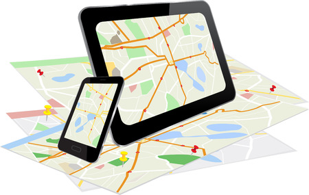Tablet PC and Smart Phone with navigation system and a paper with maps Illustration